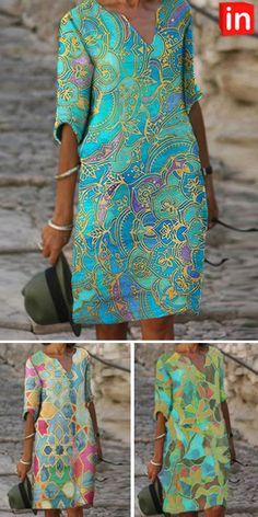 Half Sleeve Dresses, Knee Length Dresses, Half Sleeves, African Fashion Dresses, African Dress, Fashion Outfits, Fashion Hacks, Women's Fashion, Casual Dresses