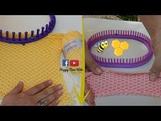 Tricotin - Housse coussin / Point coeur I Loom Knitting - YouTube