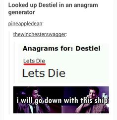 All aboard the SS. Destiel! The iceberg equals feels.