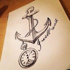 Anchor & pocket watch drawing art