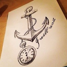 Anchor & pocket watch drawing
