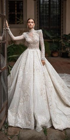 lace ball gown wedding dresses with long sleeves high neck with train millanova hochzeitsgast dresses Civil Wedding Dresses, Wedding Dress Sleeves, Princess Wedding Dresses, Dream Wedding Dresses, Bridal Dresses, Lace Dress, Gown Wedding, Lace Wedding, Wedding Cakes