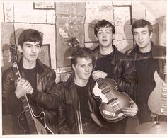 The Beatles (Quarrymen), with original drummer Pete Best, posing at The Cavern Club, Liverpool. 1961