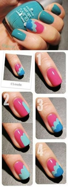 Create clouds on your nails!  #nail #beauty #nailart