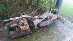 Schrottabholung ist Umweltschutz Tel: 0152 52376589: Schrottabholung und Auto Verschrottung in Köln Wheelbarrow, Garden Tools, Heavy Equipment, Recycled Glass, Old Cars, Environmentalism, Vehicles, Yard Tools