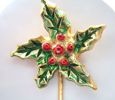Vintage Stick Pin - Holly with Leaves and Berries - offered by Annabelle's Cabinet, $13.00