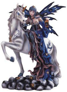 blue fairy riding unicorn