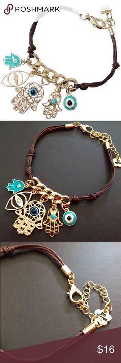 """Good Luck Hamsa Hand Evil Eye Boho Dangle Bracelet Beautiful quality 5 charm hand made dangle bracelet in shiny gold tone.  On a knotted brown rope band is an elegant strip of chunky chain from which a brilliant assortment of five lovely charms dangle.  Chain is adjustable from 5"""" to 7"""".  Truly """"One Size"""".  Quality clasp with little """"Be Happy"""" charm.  Brand new with tag in manufacturer packaging.  We typically ship daily... Sometimes twice! (A5) Jewelry Bracelets"""