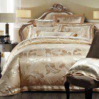 fashion leaves print golden linens silk cotton jacquard duvet cover sets Queen/Full/Double/King Size bedding sets