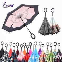 Creative Windproof Reverse Folding Double Layer Inverted upside down Umbrellas C-Hook Hands Reverse Umbrellas for car