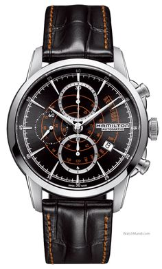 """Hamilton - RailRoad Auto-Chrono. Alluding to the brand's title as """"The Watch of Railroad Accuracy"""", gained in nineteenth century America, they integrate styling elements from pocket watches of that era."""