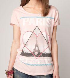 Pink Paris t-shirt, by Bershka
