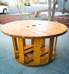 Large Wooden Spool Table by MelroseCustoms on Etsy, $1475.00