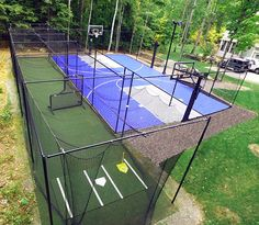 Awesome multi lawn Sport courts or one you choose! Batting cages provide hours of baseball practice to improve your swing. Source: Sport Court New England Batting Cage Backyard, Indoor Batting Cage, Backyard Sports, Backyard Games, Nice Backyard, Backyard Ideas, Backyard Landscaping, The Sims, Sims 4