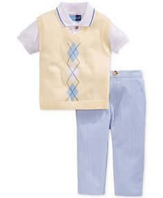 Good Lad Baby Boys' 3-Piece Sweater Vest, Polo & Seersucker Pants Set