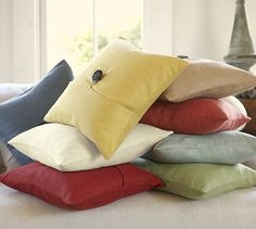 Textured Linen Pillow Covers #potterybarn...this is the color scheme I am going for in my living room!