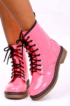 Pink Combat Boots For Girls - Yu Boots