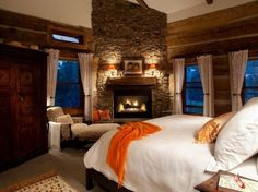 Whoa! Country master bedroom with fireplace. Sign. Me. Up.
