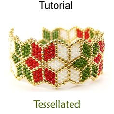 Tessellated Increasing Decreasing Brick Stitch Leaf Leaves Holiday Poinsettia Flower Bracelet Beading Pattern Tutorial