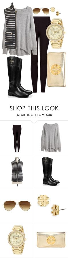 """Winter!"" by pretty-and-preppy ❤ liked on Polyvore featuring MANGO, H&M, J.Crew, Tory Burch, Ray-Ban and Michael Kors"