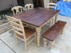 Reclaimed Wood Dining Table Set With Soft Brown Legs Completed With Chairs And Bench Has Dark Brown Accents , Reclaimed Wood Dining Table Set Completed Rustic Home Kitchen Interior Design: dining room