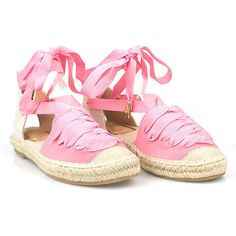 Diva Style Squad Larissa Ribbon Lace Up Espadrille in Pink ($34) ❤ liked on Polyvore featuring shoes, sandals, pink, summer shoes, lace up shoes, pink espadrilles, pink shoes and party shoes