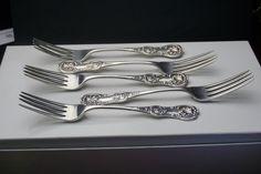 Scottish Sterling Silver Dessert Forks x 5 - Glasgow 1868 by William Coghill