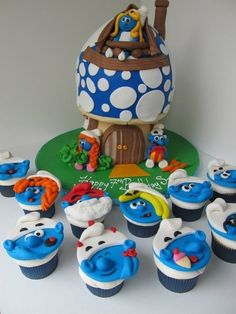Smurf mushroom cottage home cake & matching cupcakes