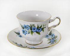 Queen Anne England Bone China Cup and Saucer Shore by WhatnotGems, $34.00