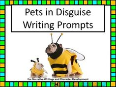 Price $3.00 Pets in Disguise Writing Prompts is a collection of fun, colorful scenes and activities. Encourage your students to write about pet characters with photography visuals and key words prompts. This SmartBoard, white board with adobe reader access, projector, document camera and/or printable offers suggestions to the teacher, evaluation link and 19 photographs with writing prompts.This collection aligns with Writing Common Core State Standards for students 3-5.