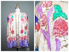 Vintage 80s Sequin Encrusted Pink Cropped Bolero Jacket with Iridescent Pearls