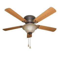 Litex 52-In Aged Bronze Flush Mount Indoor Residential Ceiling Fan Wit