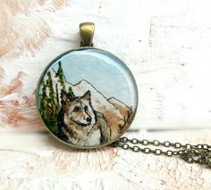 Hand Painted Necklace -- The Gray Wolf -- Art Jewelry, Watercolor Painting Brass. $42.00, via Etsy.