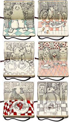 lastsupper? Moscow-based artist Nataliya Platonova has filled her Moleskin notebook with a cast of eclectic characters feasting on dinner.