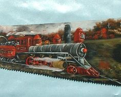 Hand Painted Handsaw Train With Oils Order