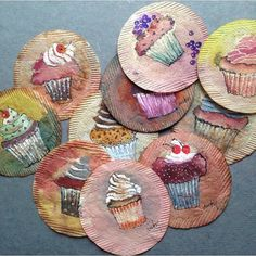 Cupcakes on me. Thanks to everyone who called, texted, pinged and posted birthday wishes. I feel very blessed to have you all in my life. 363 days of tea. Tea Bag Art, Tea Art, Watercolor Images, Watercolor And Ink, Tee Kunst, Paper Art, Paper Crafts, Paper Cups, Used Tea Bags