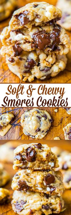 S'mores Cookies Recipe (Soft & Chewy!) – Averie Cooks Soft and Chewy Smores Cookies – Loaded with chocolate, marshmallows, and graham crackers! The best smores you'll ever eat and no campfire required! Smores Cookies, Yummy Cookies, Chocolate Chip Cookies, Chocolate Marshmallows, Roasting Marshmallows, Cookies With Marshmallows, Smores Cake, Melted Chocolate, Chocolate Chocolate