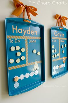Craftaholics Anonymous® | DIY Cookie Sheet Chore Charts - I like this idea better than the Melissa and Doug one.
