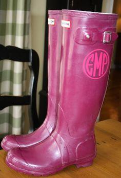 Hunter boots monogrammed
