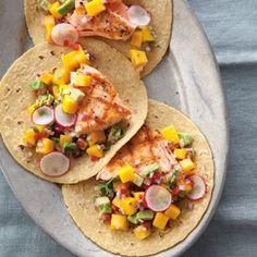 Salmon Tacos with Mango-Avocado Salsa