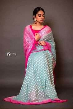 Stunning floral organza saree with red color blouse. Saree with gold jari boarder. Blouse with hand embroidery work. Pure Georgette Sarees, Chiffon Saree, Handloom Saree, Cotton Saree, Organza Saree, Traditional Blouse Designs, Traditional Sarees, Banaras Sarees, Saree Trends