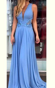 0a03defb55a MACloth Deep V Neck Chiffon Lace Long Prom Dress Blue Formal Evening Gown  Cheap Evening Dresses