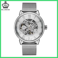 ORKINA Male Wristwatch Skeleton Dial Mechanical hand-wind Clock Men's Wrist Watches Stainless Steel Mesh Band Relogio Masculino