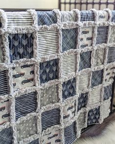 Rag Quilt Patterns, Modern Quilt Patterns, Baby Rag Quilts, Boy Quilts, History Of Quilting, Vintage Baby Boys, Navy Quilt, Baby Sewing Projects, Baby Boy Blankets