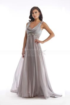 Shimmering Crystals Silver Chiffon Floor-Sweeping Mother Of The Bride Dress With Brush Train