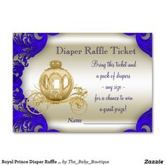 Royal Prince Diaper Raffle Tickets Large Business Cards (Pack Of 100)