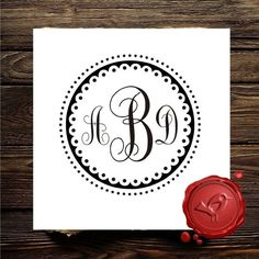 Custom rubber stamp  MONOGRAM stamp -  wood handle  - personalized wedding  gift - style 7001