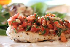Tomato Basil Chicken.  Light, fresh, and PERFECT for a summer meal.