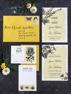 Botanical Flora Garden Wedding Invitations Set of 4 by 3EggsDesign