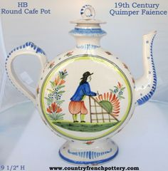 19th century French faience from Quimper, the round cafe pot featuring the Breton and Bretonne. Photo courtesy of countryfrenchpottery.com